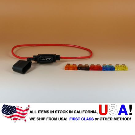 16 AWG ATO/ATC Fuse Holder Car / Boat + 5, 7.5, 10, 15, 20A Fuse Set
