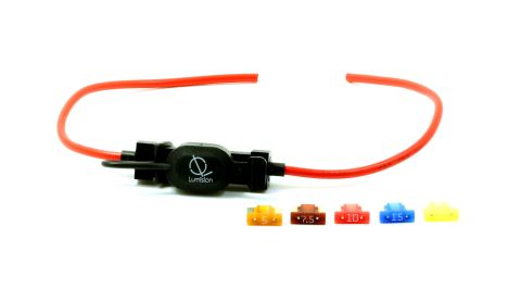 16 AWG Low Profile Mini Blade Style APS ATT Fuse Holder Car / Boat + 5, 7.5, 10, 15, 20A Fuse Set